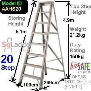 A-Frame 20-Step Aluminum Ladder (Heavy Duty)