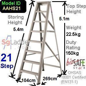 A-Frame 21-Step Aluminum Ladder (Heavy Duty)