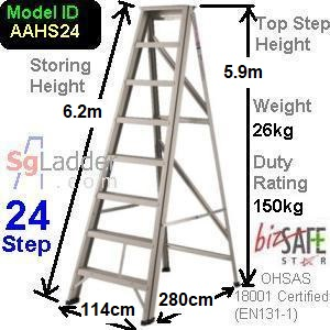 A-Frame 24-Step Aluminum Ladder (Heavy Duty)