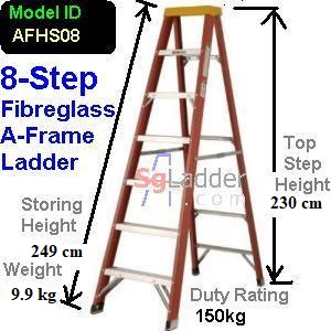A-Frame 08-Step Fibreglass Ladder (Heavy Duty)
