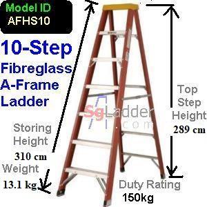 A-Frame 10-Step Fibreglass Ladder (Heavy Duty)