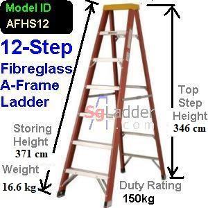 A-Frame 12-Step Fibreglass Ladder (Heavy Duty)