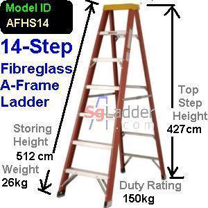 A-Frame 14-Step Fibreglass Ladder (Heavy Duty)