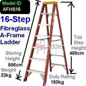 A-Frame 16-Step Fibreglass Ladder (Heavy Duty)