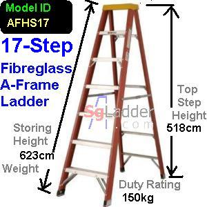 A-Frame 17-Step Fibreglass Ladder (Heavy Duty)
