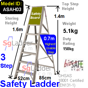 Safety A-Ladder 03 Steps Aluminum