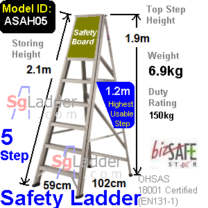 Safety A-Ladder 05 Steps Aluminum