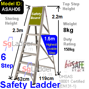 Safety A-Ladder 06 Steps Aluminum