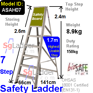 Safety A-Ladder 07 Steps Aluminum