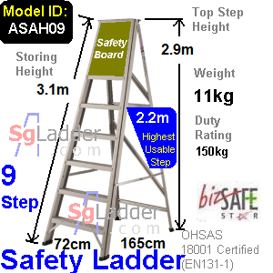 Safety A-Ladder 09 Steps Aluminum