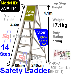 Safety A-Ladder 14 Steps Aluminum