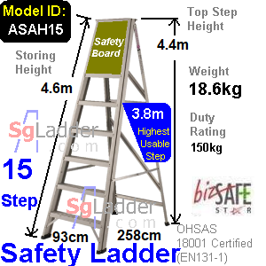 Safety A-Ladder 15 Steps Aluminum