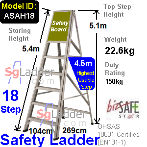 Safety A-Ladder 18 Steps Aluminum