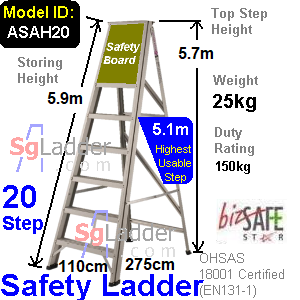 Safety A-Ladder 20 Steps Aluminum