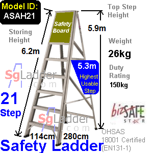 Safety A-Ladder 21 Steps Aluminum