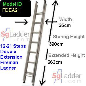 Fireman Aluminum 12-21-Step Ladder