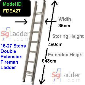 Fireman Aluminum 15-27-Step Ladder