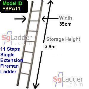 Fireman Aluminum 11-Step Ladder