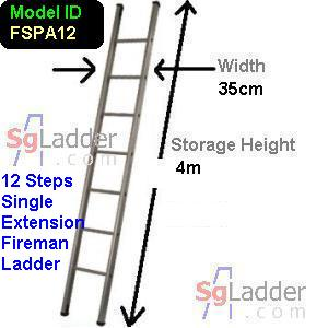 Fireman Aluminum 12-Step Ladder