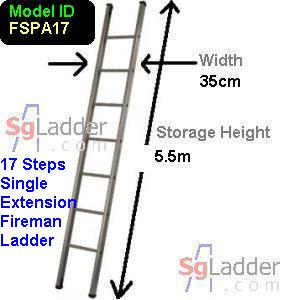 Fireman Aluminum 17-Step Ladder