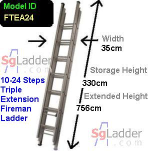 Fireman Aluminum 10-24-Step Ladder