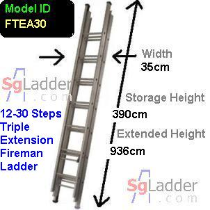 Fireman Aluminum 12-30-Step Ladder