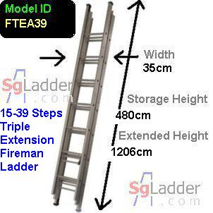 Fireman Aluminum 15-39-Step Ladder