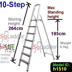 10-Step Aluminium Safety Ladder