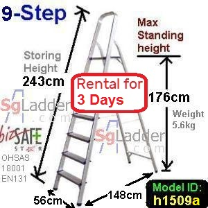 9-Step Aluminium Safety Ladder Rent 3 Days