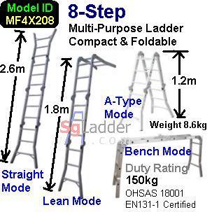 Multi-Fold Aluminum Ladder 08-Steps