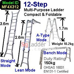 Multi-Fold Aluminum Ladder 12-Steps