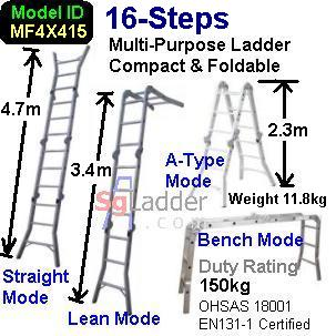 Multi-Fold Aluminum Ladder 16-Steps
