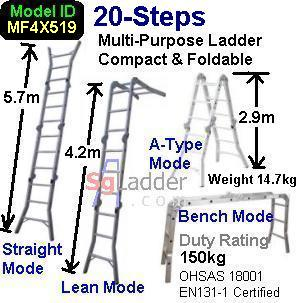 Multi-Fold Aluminum Ladder 20-Steps