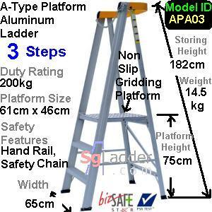 A-Type Platform Aluminum Ladder 03 Steps