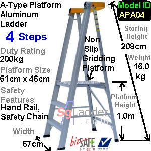 A-Type Platform Aluminum Ladder 04 Steps