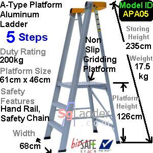 A-Type Platform Aluminum Ladder 05 Steps
