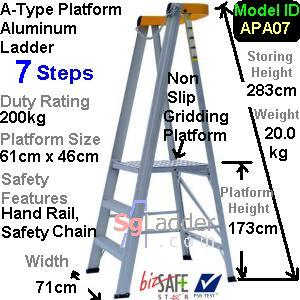 A-Type Platform Aluminum Ladder 07 Steps