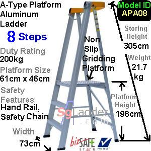 A-Type Platform Aluminum Ladder 08 Steps