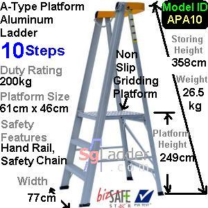 A-Type Platform Aluminum Ladder 10 Steps