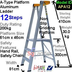 A-Type Platform Aluminum Ladder 12 Steps