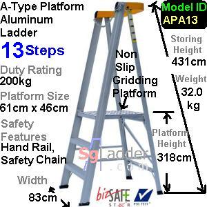 A-Type Platform Aluminum Ladder 13 Steps