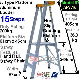 A-Type Platform Aluminum Ladder 15 Steps