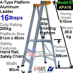 A-Type Platform Aluminum Ladder 16 Steps