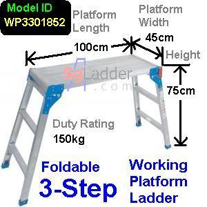 Working Platform Ladder 3Steps W45cm H75cm L100cm
