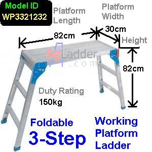 Working Platform Ladder 3Steps W30cm H82cm L82cm