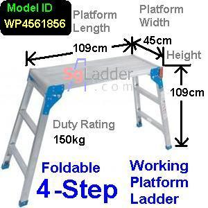 Working Platform Ladder 4Steps W45cm H109cm L109cm